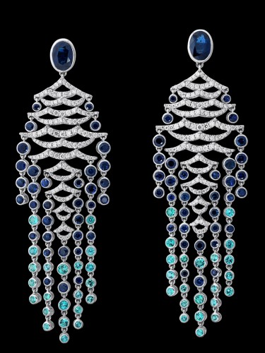 Gilan Boucles d'oreille Blue Saphir Diamond